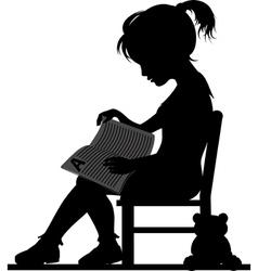 Reading little girl vector image vector image