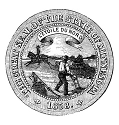 Seal of the State of Minnesota vintage engraving vector image vector image