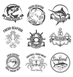 set of the seafood labels isolated on white vector image vector image