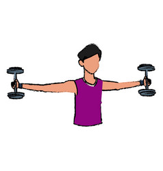 sport man biceps training with dumbbell vector image vector image