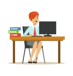 Woman Working At Her Desk With Computer And vector image