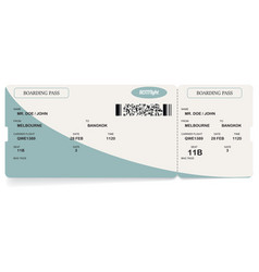 blue modern airline boarding pass ticket vector image