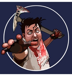 cartoon mad man with a bloodied hammer vector image vector image