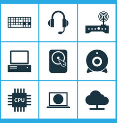 computer icons set collection of tree hdd vector image
