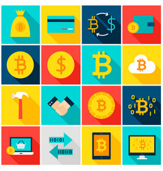Currency bitcoin colorful icons vector