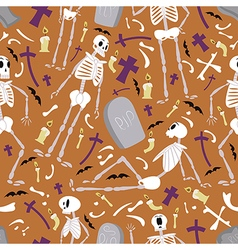Halloween skeletons pattern 01 vector image