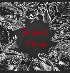 Seafood fresh menu template fish crab shrimp vector