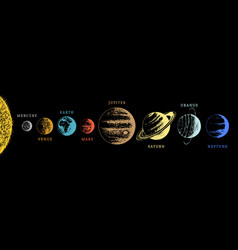 solar system infographics in hand drawn vector image