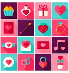 Valentine Day Colorful Icons vector image vector image