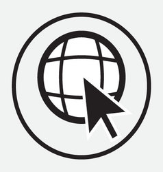 Web globe with arrow cursor monochrome vector image vector image
