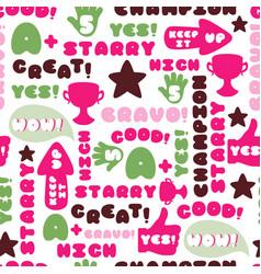 achievement school labels seamless pattern vector image vector image