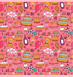 birthday background on pink vector image vector image