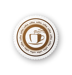 coffee round paper emblem vector image vector image