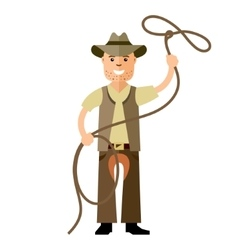 Cowboy with lasso Flat style colorful vector image vector image