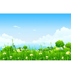 green landscape with clouds vector image vector image