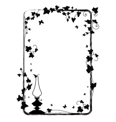 ivy frame with kerosene lamp vector image vector image