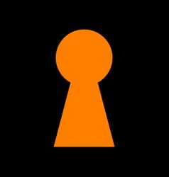 keyhole sign orange icon on black vector image