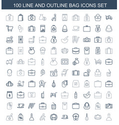 100 bag icons vector