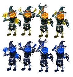 A set scarecrows with heads in form of vector