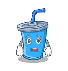 Afraid soda drink character cartoon vector