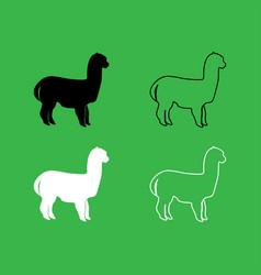 alpaca icon black and white color set vector image