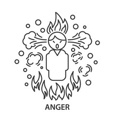 angry line icon vector image