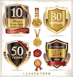 Anniversary retro shields vector image