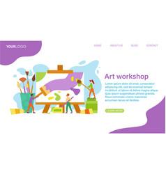 Art workshop webpage template vector