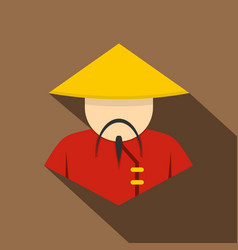 Asian man in conical straw hat icon flat style vector
