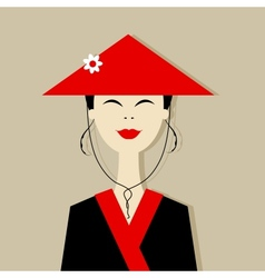 Asian woman portrait for your design vector image