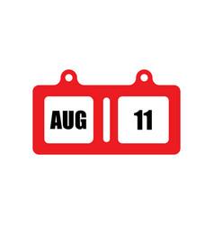 August flat calender vector
