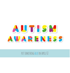 autism awareness puzzle letters paper cut out vector image
