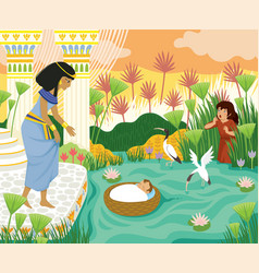 baby moses found pharaohs daughter vector image