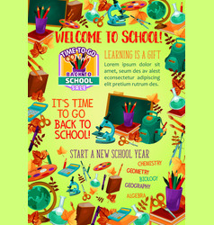 Back to school banner with education items frame vector