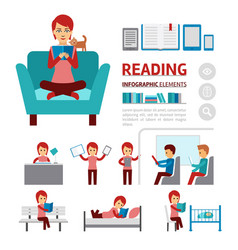 benefits reading books infographic elements vector image