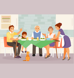 big family at dinner vector image