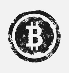 Bitcoin sign grunge style on vector