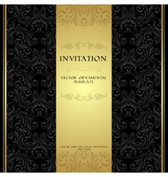 Black and gold ornamental invitation card vector