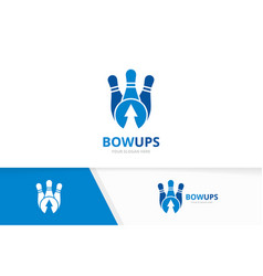bowling and arrow up logo combination game vector image
