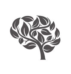 Brain tree silhouette vector