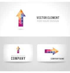Bright colorful arrow shape in modern polygonal vector image