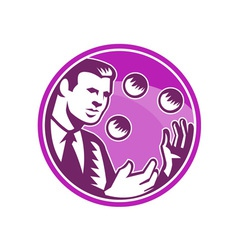 Businessman Juggler Juggling Balls Retro vector