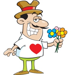 Cartoon smiling man holding flowers vector image