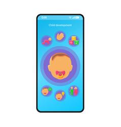 Child development smartphone interface template vector