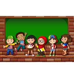 Children standing in front of the board vector image