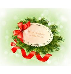 Christmas card with bow and christmas tree vector image