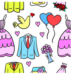 collection stock of wedding style in doodles vector image