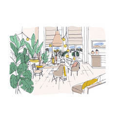 Colored drawing of cozy dining or living room vector