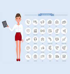 communication thin line icons businesswoman vector image