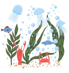 Composition sea fauna on white background cartoon vector